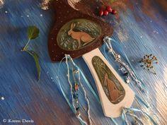 Hare and bluebells. Original Art. Wooden Toadstool Hanger