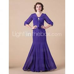 [USD $ 119.99]  Trumpet/ Mermaid Strapless Floor-length Chiffon Mother of the Bride Dress With A Wrap