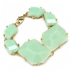Adela's Chunky Abstract Shape Seafoam Green Stone Bracelet ($44) ❤ liked on Polyvore