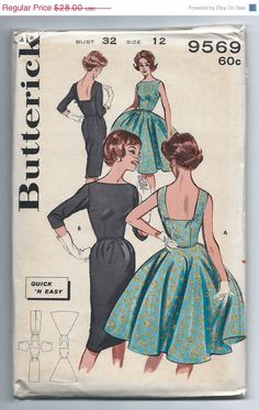 On Sale Vintage Butterick 9569 UNCUT Misses Full Skirt Dress with Bateau Neckline with Low Square Back and Bows Sewing Pattern Size 12