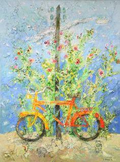 Γιάννης Κόττης, Giannis Kottis - Το Ποδήλατο - 2002     Μεικτή Τεχνική Σε Μουσαμά - Διαστάσεις 2.30 x 1.60