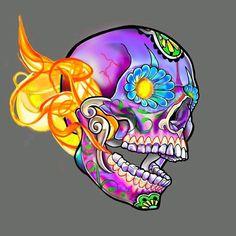 Sugar skull El flamo WIP. #jamesdangerharvey #jamesdangerart #jdanger looks like I need to color calibrate my cintiq!