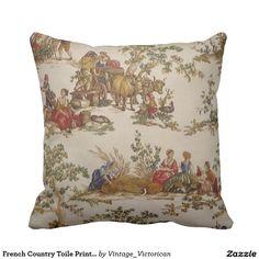 French Country Toile Print MoJo Throw Pillow