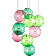 Fatboy Spheremaker Suspension Lamp - Pink & Green ($850) ❤ liked on Polyvore featuring home, lighting, ceiling lights, pink, remote control light, pink lights, cable lighting, orb pendant light and colored pendant lights