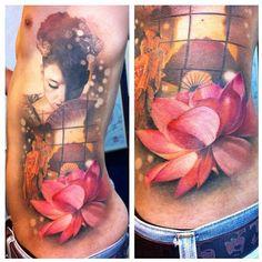 Artist: Ael Lim, Singapore  Geisha Tattoo. AMAZING work