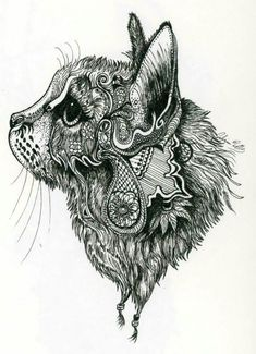 This is a zentangle cat I found or henna cat! Tatoo Henna, Mandala Tattoo, Hp Tattoo, Tattoo Small, Tattoo Flash, Mandala Art, Kitty Tattoos, Henna Patterns, Zentangle Patterns