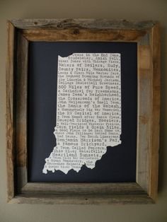Indiana In A Nutshell Word Art Map Print by fortheloveofmaps Cool to do for all the states on a smaller scale