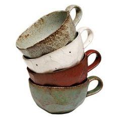 earthenware mugs.... maybe i will make mugs like this this semester!