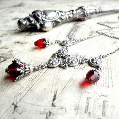 Victorian Necklace  Bright Ruby Red Blood Drops  by ArxRosarum, €38.00