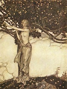 The goddess Freia ~Illustration by Arthur Rackham (1867 - 1939) to Richard Wagner's Das Rheingold