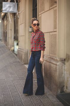 Flare Jeans, Topshop Plaid Shirt | My Showroom
