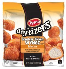 Any'tizers breaded Buffalo Style Boneless Chicken Wyngz deliver just the right amount of authentic Buffalo flavor, making this snack perfect for any occasion! Bite-sized chicken portions make them quick and convenient! *Contains no wing meat Boneless Chicken Wings, Tyson Chicken, Chicken Snacks, Chicken Bites, Tyson Foods, Glazed Chicken, Breaded Chicken, High Protein Snacks, Frozen Chicken