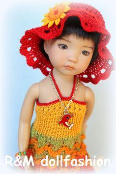 "R&M DOLLFASHION-BEACH LINE handknit OOAK set for Effner LITTLE DARLING 13"" doll"