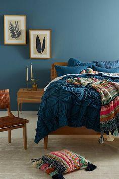 Lazybones Organic Rosette Quilt home furniture anthropologie sectional cozy mode… - quasar. Dark Teal Bedroom, Blue Bedroom Walls, Bedroom Colors, Modern Bedroom, Girls Bedroom, Bedroom Ideas, Indigo Bedroom, Jewel Tone Bedroom, Teal Bedroom Decor