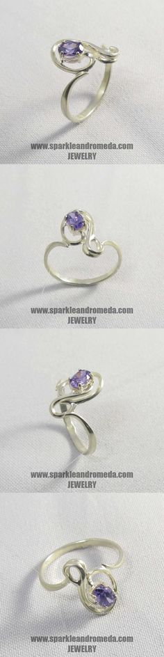 Sterling 925 silver ring with 1 oval mm violet amethyst color cubic zirconia gemstones.