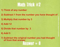 Math Trick #2 - Pick any number Pick any NATURAL number (not zero).