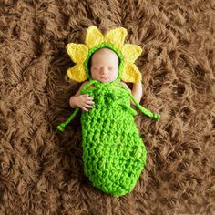 Newborn Baby Cocoon Girl Knit Sunflower Hat Photography Sleeping Bag Photo Props #NIBOX