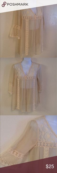 Free People Boho Embroidered Lace Shirt, M Free People Boho Embroidered Lace Shirt, M Free People Tops
