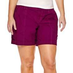 a.n.a Cargo Shorts ($20) ❤ liked on Polyvore featuring shorts, plus size, zipper shorts, stretchy shorts, cuffed shorts, plus size shorts and womens plus size shorts