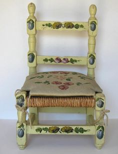 Vintage Child's Chair with hand stitched by jewelryandthings2