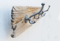 DRIFTWOOD four hook key, coat, hat, leash   rack made with rustic reclaimed fence wood. Like the idea of a touch of rustic   in there. Could make this easily!
