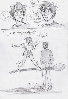 Art by burdge bug. Harry and Ginny.