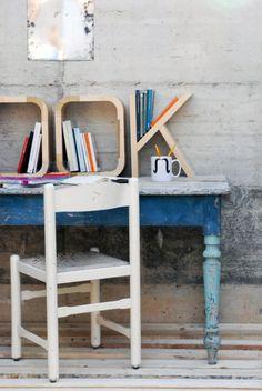 Wooden Letter Shelves.