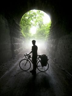 Bicyclist in Tunnel