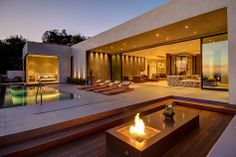 Interior, Backyard Fire Pit Sliding Glass Door Lounge Chairs Outdoor Pool Wooden Floor Bedroom Wall Light Chandelier Sofa : Appealing Private House With a Stylish Interior in L.A. and a Breathtaking View Over the City