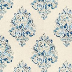 Modern Lee Jofa, Gwf-3309.515, Ground Works, Holi Emb: Blues on White Damask Fabric on Chairish.com Orange Fluff, Lee Jofa, Navy Fabric, White Damask, Fabric Houses, Textile Fabrics, Home Wallpaper, Color Show, Holi