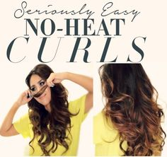 How to get voluminous curls overnight without heat for school or work. Easy, step-by-step, no-heat curls hair tutorial for medium long hair.