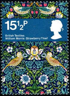 """assistantxxx: """"stampdesigns: """" Great Britain postage stamp: William Morris c. one of set of 4 stamps featuring British textiles above textile image: Strawberry Thief by William Morris c. William Morris, Postage Stamp Design, Love Stamps, Vintage Stamps, Arts And Crafts Movement, Stamp Collecting, My Stamp, Poster, Illustrations"""