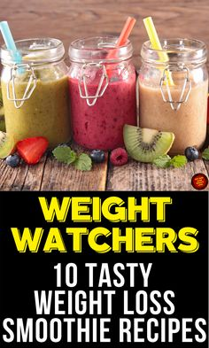 10 Healthy Weight Loss Smoothie Recipes with Points Weight Watchers Shakes, Weight Watcher Smoothies, Weight Watchers Breakfast, Weight Loss Smoothie Recipes, Weight Watchers Meals, Healthy Weight Loss, Lunch Smoothie, Breakfast Smoothie Recipes, Good Smoothies