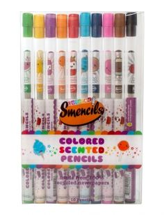 Buy Scentco Coloured Smencils 10 Pack online and save! The Coloured Smencils 10 Pack includes 10 of our colored pencils that are made from recycled newspapers. Each Coloured Smencil has a colored writ. Cute School Supplies, Craft Supplies, Minnie Mouse Dress Up, Girls Secrets, Stationary Set, Thanksgiving, Beginning Of The School Year, Age, Colored Pencils