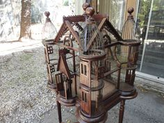 Antique Authentic Victorian Bird Cage Circa 1880-1900 Gabled Roof With Table (Writing - Props)