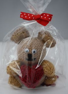 Valentine gift Hand knitted teddy bear with by sweetygreetings