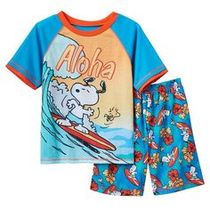 He'll say aloha to bedtime with these boys' Peanuts Snoopy pajamas. Snoopy Pajamas, Peanuts Snoopy, Pajama Set, Sweatshirts, Boys, Mens Tops, Light Blue, Products, Fashion