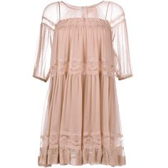 No21 Silk Baby-Doll Dress (9.865 HRK) ❤ liked on Polyvore featuring dresses, doll dress, sheer babydoll dress, silk dress, pink babydoll dress and nude dress