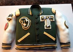 Letterman jacket cake for a high school graduation.
