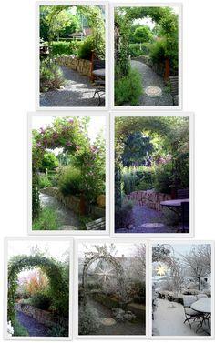 Ein Schweizer Garten  Jahreszeitenvergleich Rosenbogen  Kletterrose Veilchenblau