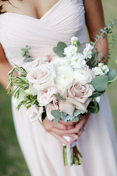 Classic blush garden bridesmaid bouquet with rosemary sprigs