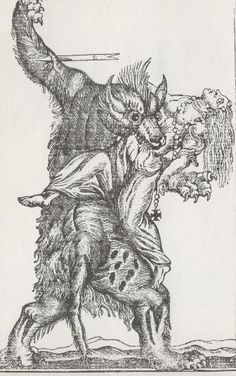 18th century engraving of a werewolf