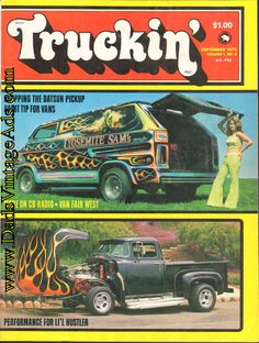 1975 Truckin' Cover: In the Detroit area, there is one heck of a customized van owned by a paint shop, Yosemite Sam's. Also chopped with flamed paint is '56 F-100 belonging to Paul Marquez of San Diego.