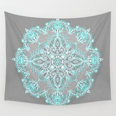 Buy Teal and Aqua Lace Mandala on Grey by micklyn as a high quality Wall Tapestry. Worldwide shipping available at Society6.com. Just one of millions of products available.