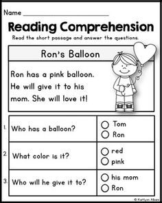 kindergarten reading comprehension passages  set  freebie  wyatt  kindergarten reading comprehension passages  valentines freebie