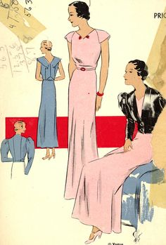 VOGUE Pattern 6425 | 1930s Evening Dress and Jacket