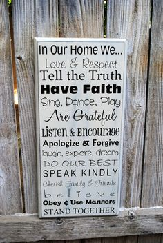 """In this house we do Subway art sign, typography sign, Wood Family Rules Sign 12""""x24"""" on Etsy, $49.95"""