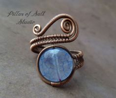Boho ring / wire wrapped jewelry handmade / wire jewelry / Wire Wrapped Ring / copper jewelry / Blue cracked agate