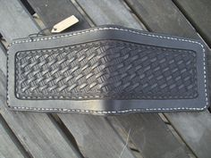 Hand Tooled Leather Wallet with Basketweave Design in Black