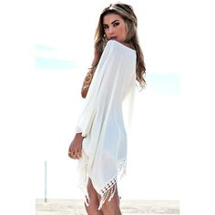 Beach Cover Up womens gift for women summer dress Chiffon dress White... ($28) ❤ liked on Polyvore featuring swimwear, cover-ups, white bathing suit cover up, swim suit cover up, white open front cardigan, open front cardigan and open cardigan